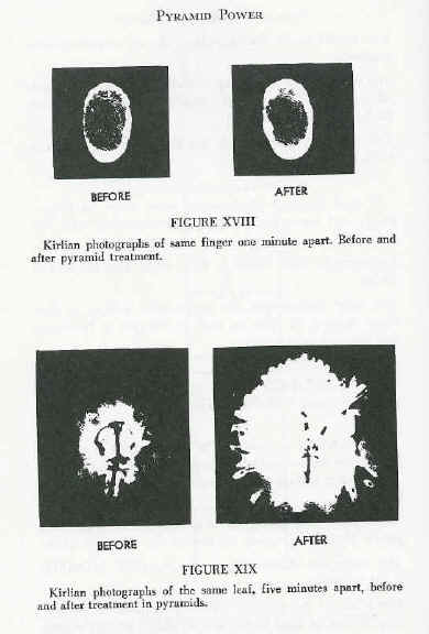 Kirlian Photos - before/after pyramid treatment